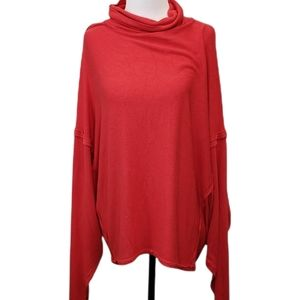 We the Free Oversized Slouchy Pullover Red Orange Size Medium